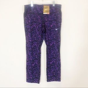 Nike Epic Run Crops 💜 Purple Leopard NEW w/ tags